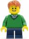 Minifig No: twn197  Name: Boy, Green V-Neck Sweater, Dark Blue Short Legs