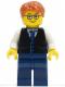 Minifig No: twn211  Name: Black Vest with Blue Striped Tie, Dark Blue Legs, White Arms, Dark Orange Short Tousled Hair, Rectangular Glasses
