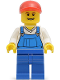 Minifig No: twn216  Name: Overalls Blue over V-Neck Shirt, Blue Legs, Red Short Bill Cap, Grin with Teeth