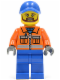 Minifig No: twn231  Name: Construction Worker - Orange Zipper, Safety Stripes, Orange Arms, Blue Legs, Blue Cap with Hole (10680)