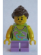 Minifig No: twn241  Name: Girl, Dolphin Top, Short Medium Lavender Legs, Reddish Brown Ponytail and Swept Sideways Fringe