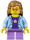 Minifig No: twn289  Name: Girl, Bright Light Blue Hoodie, Medium Lavender Short Legs, Medium Dark Flesh Female Hair Mid-Length, Glasses