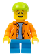 Minifig No: twn300  Name: Boy - Orange Jacket with Hood over Light Blue Sweater, Dark Azure Short Legs, Lime Cap (31068)