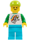 Minifig No: twn304  Name: Classic Space Minifigure Floating Pattern, Medium Azure Legs, Lime Short Bill Cap