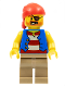 Minifig No: twn332  Name: Pirate Man, Striped Red and White Shirt Under Blue Vest, Red Bandana, Left Eye Patch and 3 Gold Teeth, Dark Tan Legs (31084)