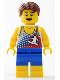 Minifig No: twn335  Name: Beach Tourist with Surfer Tank Top and Yellow Boots