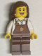 Minifig No: twn345  Name: Female with Reddish Brown Apron with Cup and Name Tag Pattern, Reddish Brown Female Hair Mid-Length