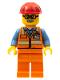 Minifig No: twn346  Name: Orange Safety Vest with Reflective Stripes, Orange Legs, Red Construction Helmet, Glasses