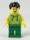 Minifig No: twn351  Name: Male with Black Hair, Lime Sleeveless Hoodie, Green Legs (Ludo Green)