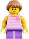 Minifig No: twn356  Name: Child Girl with Long Medium Dark Flesh Braid, Bright Pink Striped Cat Shirt, and Medium Lavender Legs