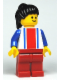 Minifig No: ver018  Name: Vertical Lines Red & Blue - Blue Arms - Red Legs, Black Ponytail Hair