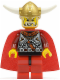 Minifig No: vik026  Name: Viking Red Chess King - Horns Glued to Helmet