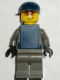 Minifig No: wc001  Name: Police - Security Guard, Dark Gray Legs, Dark Blue Cap, Dark Blue Vest