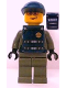 Minifig No: wc001s  Name: Police - Security Guard, Dark Gray Legs, Dark Blue Cap, Dark Blue Vest with Security and Badge Pattern (Stickers) - Set 7033