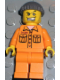 Minifig No: wc007  Name: Police - World City Jail Prisoner 50380 Medium Orange Jumpsuit, Dark Gray Knit Cap