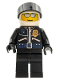 Minifig No: wc008  Name: Police - World City Helicopter Pilot, Black Jacket with Zipper and Badge