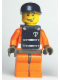 Minifig No: wc012s  Name: Coast Guard World City, Orange Jacket with Zipper, Dark Blue Cap, Dark Blue Vest with Straps and Coast Guard Logo Sticker