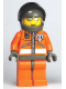 Minifig No: wc013  Name: Coast Guard World City - Orange Jacket with Zipper, Silver Sunglasses, Dark Gray Helmet (7047)