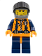 Minifig No: wc017  Name: Coast Guard World City - Orange Torso with Straps, Dark Bluish Gray Helmet, Black Visor (7042)