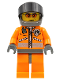 Minifig No: wc018a  Name: Coast Guard World City - Orange Jacket with Zipper, Orange Sunglasses, Dark Bluish Gray Helmet, Dark Bluish Gray Hands