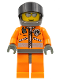 Minifig No: wc019  Name: Coast Guard World City - Orange Jacket with Zipper, Silver Sunglasses, Dark Bluish Gray Helmet, Dark Gray Hands (7044)