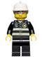 Minifig No: wc021  Name: Fire - Reflective Stripes, Black Legs, White Fire Helmet, Silver Sunglasses
