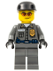 Minifig No: wc022  Name: Police - Security Guard, Dark Bluish Gray Legs, Black Cap