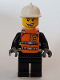 Minifig No: wc024s  Name: Reflective Stripes, Black Legs, White Fire Helmet, Smile, Orange Vest with Straps and Fire Logo and 'FIRE' Pattern (Stickers)