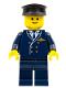 Minifig No: wc025  Name: Airport - Pilot, Dark Blue Legs, Dark Blue Top, Black Hat