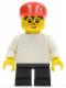 Minifig No: wc027  Name: Timmy - Black Short Legs, Plain White Torso, Red Cap