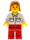 Minifig No: wc029  Name: Shirt with 2 Pockets, Red Legs, Dark Orange Female Hair