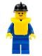 Minifig No: zip025  Name: Jacket with Zipper - Blue, Blue Legs, Black Fire Helmet, Life Jacket