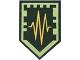 Part No: 22385pb165  Name: Tile, Modified 2 x 3 Pentagonal with Nexo Power Shield Pattern - Adrenaline Rush