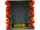Part No: 61769  Name: Plastic Ramp Cover with Flames and 'WARNING PYRO-CHEMICAL BURN HAZARD' Pattern (8493)