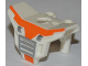 Part No: 11260pb01  Name: Minifigure, Armor Space with Square Shoulder Protection with Silver Grille and Orange Markings Pattern