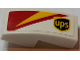 Part No: 11477pb047L  Name: Slope, Curved 2 x 1 No Studs with ups Logo and Red and Yellow Pattern Model Left Side (Sticker) - Set 75908