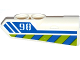 Part No: 11947pb016  Name: Technic, Panel Fairing #22 Very Small Smooth, Side A with '98', Blue Line and Blue and Lime Danger Stripes Pattern (Sticker) - Set 42047