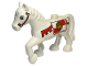 Part No: 1376pb03  Name: Duplo Horse with one Stud and Raised Hoof with Red Bridle and Lion on Shield Pattern
