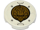 Part No: 14769pb017  Name: Tile, Round 2 x 2 with Bottom Stud Holder with Gold Chima Eagle Emblem, Rivets and Black Lines Pattern (Sticker) - Set 70142