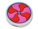 Part No: 14769pb154  Name: Tile, Round 2 x 2 with Bottom Stud Holder with Red and Dark Pink Pinwheel Pattern