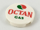 Part No: 14769pb243  Name: Tile, Round 2 x 2 with Bottom Stud Holder with Octan Logo and 'OCTAN GAS' Pattern