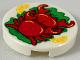 Part No: 14769pb255  Name: Tile, Round 2 x 2 with Bottom Stud Holder with 2 Red Crabs, 2 Bright Light Orange Orange Slices, Green Garnish Pattern