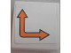 Part No: 15068pb115L  Name: Slope, Curved 2 x 2 No Studs with Orange Bent Arrow Double on White Background Pattern Model Left Side (Sticker) - Set 60062