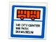 Part No: 15210pb025  Name: Road Sign Clip-on 2 x 2 Square Open O Clip with Orange Bus, '143 CITY CENTER', '166 PARK' AND '319 MUSEUM' Pattern (Sticker) - Set 60104