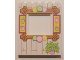 Part No: 15627pb012  Name: Panel 1 x 6 x 6 with Window with Wood Frame with Drinks, Citrus Fruits and Potted Plant Pattern
