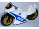Part No: 18895c05pb02  Name: Motorcycle Sport Bike Complete Assembly with Black Windshield with Gold Badge Pattern and Pearl Gold Wheels with Police Pattern on Both Sides (Stickers) - Set 60137
