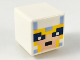 Part No: 19729pb026  Name: Minifigure, Head Modified Cube Helmet with Bright Light Blue and Bright Light Orange Trim, Minecraft Pixelated Face Pattern