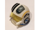 Part No: 21566c01pb04  Name: Minifigure, Headgear Helmet SW Rebel Pilot Raised Front and Microphone with Trans-Yellow Visor with Black/Yellow Stripes and Black Rebel Logo Pattern