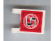 Part No: 2335pb052  Name: Flag 2 x 2 Square with Black Number 5 on Red Background with White Basketball Pattern (Sticker) - Set 3432