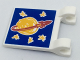 Part No: 2335pb167  Name: Flag 2 x 2 Square with Drawn Classic Space Logo and 5 Bright Light Orange Stars on Blue Background Pattern